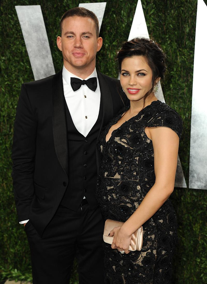"""FILE - This Feb. 24, 2013 file photo shows Channing Tatum, left, and Jenna Dewan-Tatum at the 2013 Vanity Fair Oscars Viewing and After Party at the Sunset Plaza Hotel in West Hollywood, Calif. Dewan-Tatum gave birth Friday, May 31, in London, where her Channing Tatum is filming the movie """"Jupiter Ascending."""" The birth was announced on the separate websites for both parents, with the message """"Welcome to the World!"""" This is the first child for the Tatums. They met on the set of the film """"Step Up"""" and have been married since 2009. The co-starred together in last year's """"10 Years."""" (Photo by Jordan Strauss/Invision/AP, file)"""