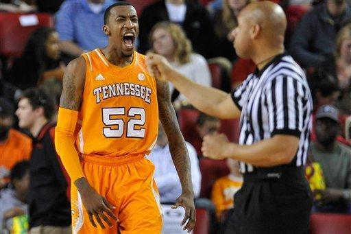 Tennessee guard Jordan McRae (52) reacts after a 3-point basket and a foul during the first half of an NCAA college basketball game against Georgia in Athens, Ga., Saturday, March 2, 2013. (AP Photo/The Athens Banner-Herald, AJ Reynolds)