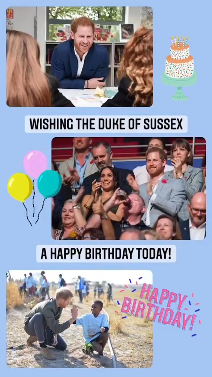 The royal family's official Instagram account didn't forget the Duke of Sussex's birthday, either. (theroyalfamily / Instagram)