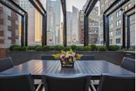 "<p>A large dining table is a must-have for roof decks with top-notch views. Sunset dinner parties, anyone?</p><p><em>Landscape Design by </em><a href=""http://designers.elledecor.com/landscape-designers/mariani-landscape"" rel=""nofollow noopener"" target=""_blank"" data-ylk=""slk:Mariani Landscape"" class=""link rapid-noclick-resp""><em>Mariani Landscape</em></a></p>"