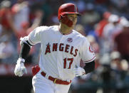 Los Angeles Angels designated hitter Shohei Ohtani rounds first after hitting a two-run home run against the Chicago White Sox during the seventh inning of a baseball game in Anaheim, Calif., Sunday, Aug. 18, 2019. (AP Photo/Alex Gallardo)