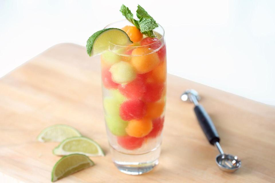 <p>Use a melon baller to carve out watermelon, honeydew, or cantaloupe. After a quick stay in the freezer, the bite-size fruit will infuse your beverage with a delightful flavor. <br></p>