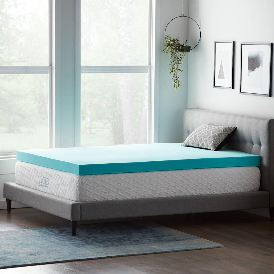 "<br><br><strong>Lucid Comfort Collection</strong> 4"" Gel Memory Foam Mattress Topper, $, available at <a href=""https://go.skimresources.com/?id=30283X879131&url=https%3A%2F%2Fwww.wayfair.com%2Fbed-bath%2Fpdp%2Flucid-comfort-collection-4-gel-memory-foam-mattress-topper-w000913907.html"" rel=""nofollow noopener"" target=""_blank"" data-ylk=""slk:Wayfair"" class=""link rapid-noclick-resp"">Wayfair</a>"
