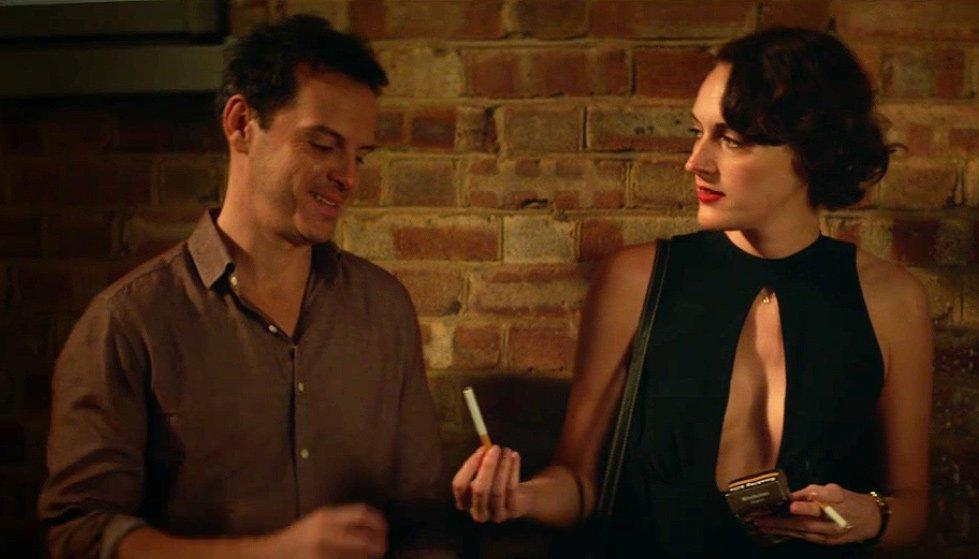 """But the dinner isn't all bad. She meets her father and stepmother's """"cool, swear-y priest,"""" played by Andrew Scott, whom fans affectionately call """"hot priest.""""  He asks Fleabag for a cigarette (because he's a cool priest who drinks and smokes) and when she doesn't stay to talk to him, he tells her, """"F--- you, then!"""" Edgy!"""