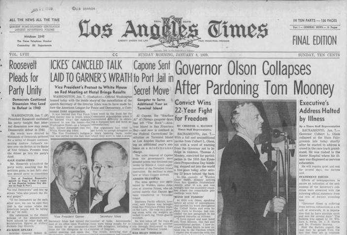 A front page of the LA Times, January 8, 1939, contains a headline that reads