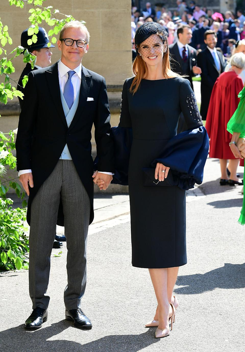 <p><span>Sarah, wearing a Lavin dress and a Philip Treacy hat, is also part of the 'Suits' family and is said to have grown close to Meghan while filming the show. </span><span>[Photo: Getty]</span> </p>