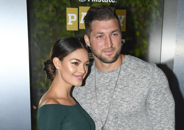 Tim Tebow and his girlfriend Demi-Leigh Nel-Peters are engaged. (Photo by Steve Jennings/Getty Images for ESPN)
