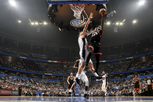 ORLANDO, FL - APRIL 19: Pascal Siakam #43 of the Toronto Raptors shoots the ball against the Orlando Magic during Game Three of Round One of the 2019 NBA Playoffs on April 19, 2019 at Amway Center in Orlando, Florida. (Photo by Fernando Medina/NBAE via Getty Images)