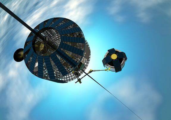 An electric-powered climber spacecraft rides up the space elevator.