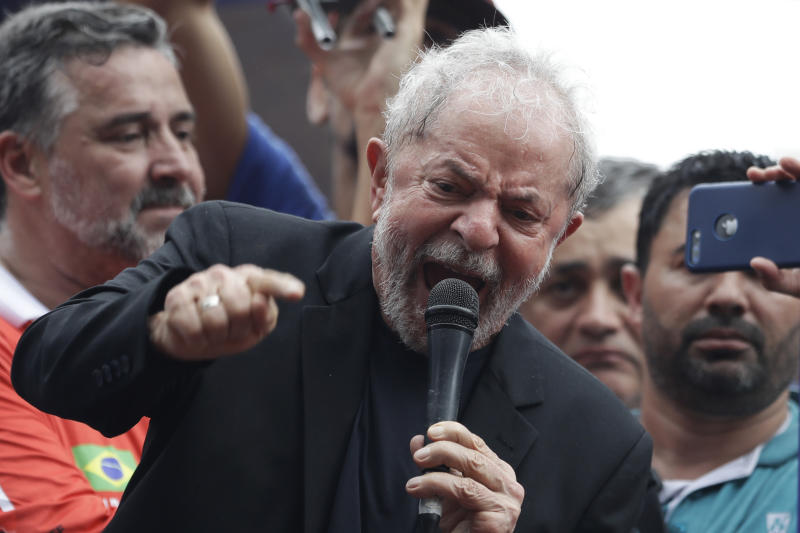 "Former Brazilian President Luiz Inacio Lula da Silva speaks to supporters during a rally at the Metal Workers Union headquarters, in Sao Bernardo do Campo, Brazil, Saturday, Nov. 9, 2019. Da Silva addressed thousands of jubilant supporters a day after being released from prison. ""During 580 days, I prepared myself spiritually, prepared myself to not have hatred, to not have thirst for revenge,"" the former president said. (AP Photo/Nelson Antoine)"