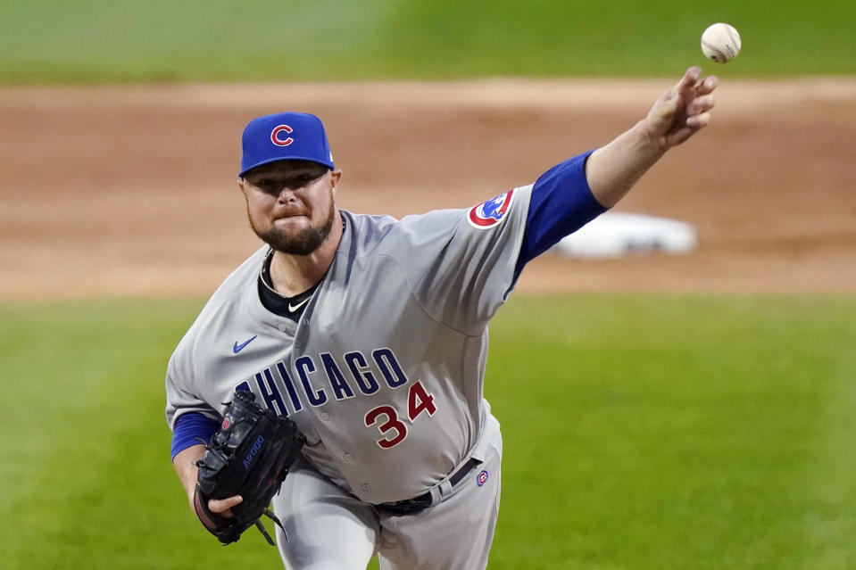 FILE - In this Sept. 26, 2020, file photo, Chicago Cubs starting pitcher Jon Lester throws to a Chicago White Sox batter during the first inning of a baseball game in Chicago. Washington Nationals manager Dave Martinez said Lester, who signed with the team in January, has been playing catch on flat ground and soon should be able to throw off a mound again to work his way into form for the regular season, which begins April 1. The Nationals left-hander had surgery to remove a thyroid gland. (AP Photo/Nam Y. Huh, File)