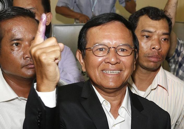 Kem Sokha was arrested early Sunday in a swoop by hundreds of security forces at his home in the Cambodian capital (AFP Photo/STR)