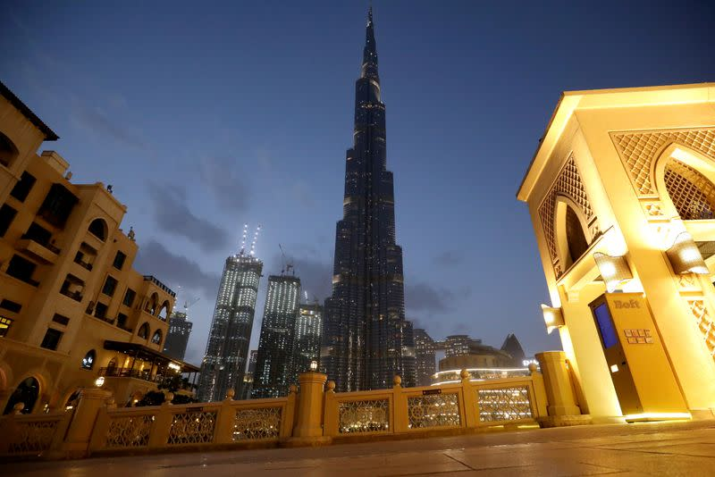 A view shows the Burj Khalifa, the world's tallest building, mostly deserted, following the outbreak of coronavirus disease, in Dubai
