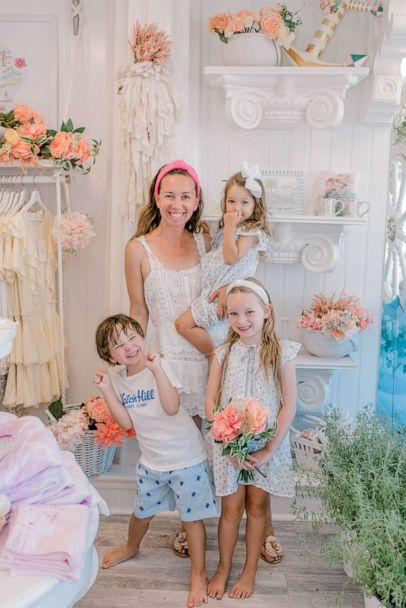 PHOTO: Shannon Doherty, a mom of four from Darien, Connecticut, shared her creative 'stay healthy station' hack with parents on TikTok. It includes candy-scented hand sanitizer, bright-colored face masks a bowl of mask chains. (Shannon Doherty)