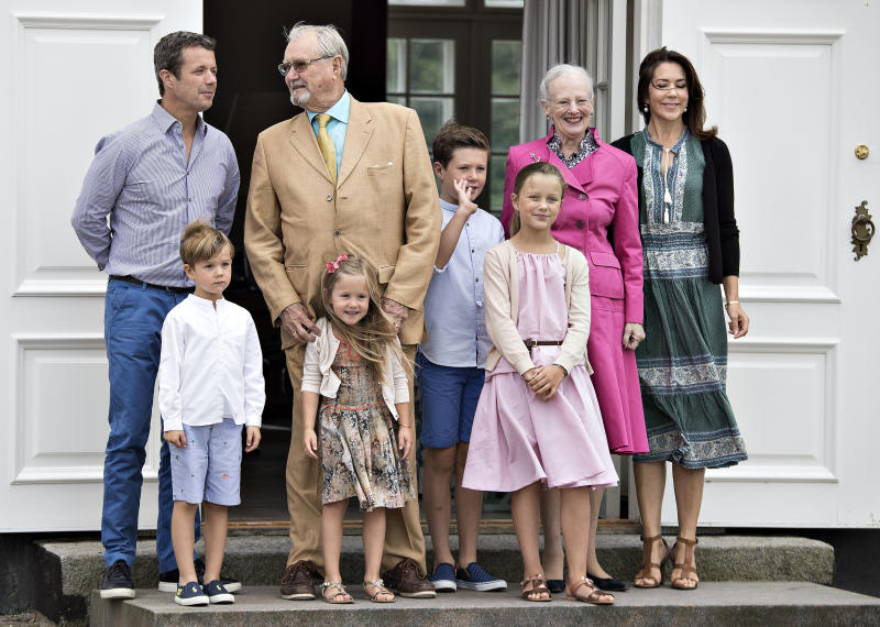 Danish royal house poses on front steps in the inner courtyard for the annual photo session on July 15, 2016 at Graasten Castle in Denmark. (From L-R) Crown Prince Frederik, Prince Vincent, Prince Henrik, Princess Josephine, Prince Christian, Princess Isabella, Queen Margrethe and Crown Princess Mary. / AFP / Scanpix Denmark / Henning Bagger / Denmark OUT (Photo credit should read HENNING BAGGER/AFP via Getty Images)