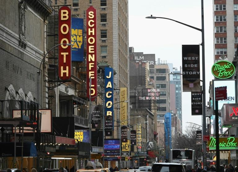 The Broadway League did not set a date for performances to resume, but is offering refunds and exchanges for tickets purchased for all shows through January 3, 2021 (AFP Photo/Angela Weiss)