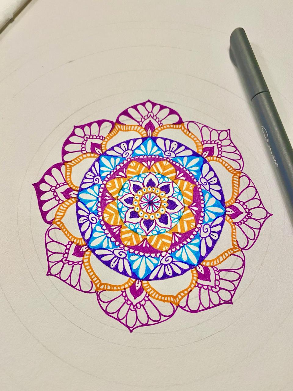 """<p>While exploring primary foods, I also got back into my love of drawing mandalas, water color painting, and doing <a href=""""https://www.popsugar.com/fitness/what-is-zentangle-drawing-meditation-46934394"""" class=""""link rapid-noclick-resp"""" rel=""""nofollow noopener"""" target=""""_blank"""" data-ylk=""""slk:Zentangle"""">Zentangle</a> (meditative doodling). This not only taps into my creativity, but it's also very calming and a great way to relieve stress at the end of a busy day. I sometimes draw alone, but my daughter also loves drawing, so spending time connecting with her also feeds my soul.</p>"""
