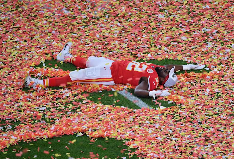 Defensive End for the Kansas City Chiefs Demone Harris celebrates after winning Super Bowl LIV between the Kansas City Chiefs and the San Francisco 49ers at Hard Rock Stadium in Miami Gardens, Florida, on February 2, 2020. (Photo by Angela Weiss / AFP) (Photo by ANGELA WEISS/AFP via Getty Images)