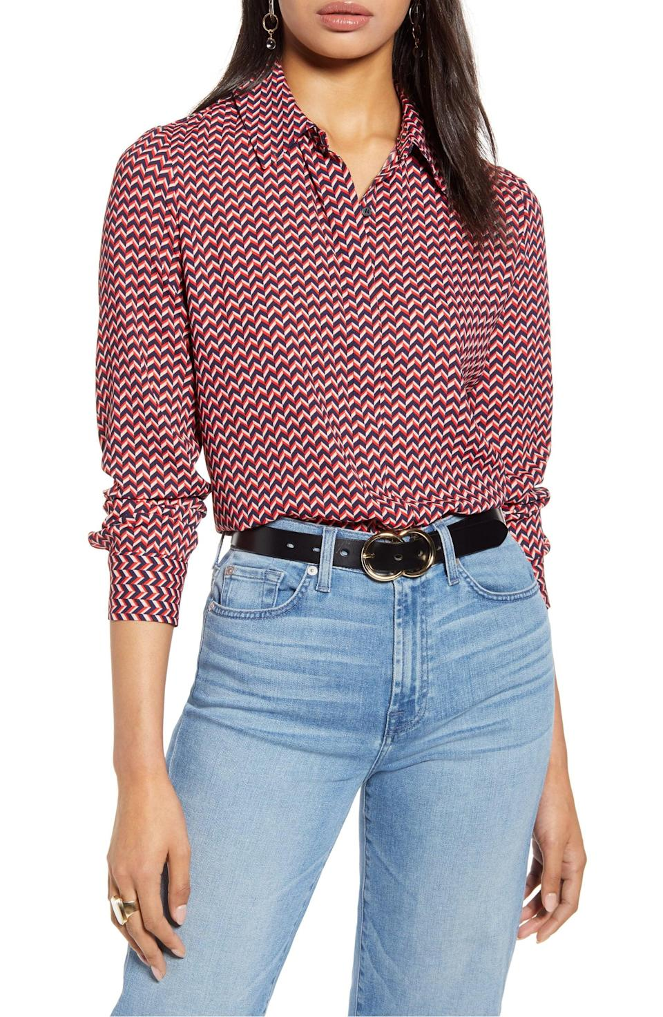 "<p>You could actually wear one of <a href=""https://www.popsugar.com/buy/Halogen-signature-blouses-551954?p_name=Halogen%27s%20signature%20blouses&retailer=shop.nordstrom.com&pid=551954&price=79&evar1=fab%3Aus&evar9=34097656&evar98=https%3A%2F%2Fwww.popsugar.com%2Ffashion%2Fphoto-gallery%2F34097656%2Fimage%2F34097666%2FButton-Down-Blouse&list1=shopping%2Cequipment%2Cstyle%20how%20to&prop13=mobile&pdata=1"" class=""link rapid-noclick-resp"" rel=""nofollow noopener"" target=""_blank"" data-ylk=""slk:Halogen's signature blouses"">Halogen's signature blouses</a> ($79) every day if you had to - and you might just want to. It works as an office blouse, going-out top, easy brunch button-down, and fits just about every other occasion, too. How many tops can you say that about?</p>"