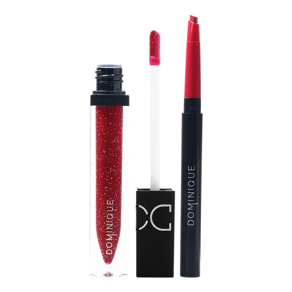 """<p>Dominique Cosmetics has created its own glitter-packed lip kits called Lip Blitz: a lip liner and gloss duo that's as sparkly as it is nourishing, thanks to the addition of <a href=""""https://www.allure.com/story/vitamin-e-skin-care?mbid=synd_yahoo_rss"""" rel=""""nofollow noopener"""" target=""""_blank"""" data-ylk=""""slk:vitamin E"""" class=""""link rapid-noclick-resp"""">vitamin E</a>. You can choose between a nude liner and clear gloss combo called In a Daze and or Heat of the Moment, the true red set shown above. </p> <p><strong>$29</strong> (<a href=""""https://dominiquecosmetics.com/collections/new-arrivals"""" rel=""""nofollow noopener"""" target=""""_blank"""" data-ylk=""""slk:Available November 2"""" class=""""link rapid-noclick-resp"""">Available November 2</a>)</p>"""
