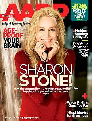 Sharon Stone on the cover of AARP The Magazine's February/March issue.