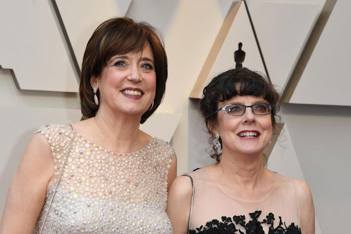 "Betsy West (left) and Julie Cohen at the 91st Annual Academy Awards in February 2019, where ""RBG"" was nominated for Best Documentary Feature. (Photo: MARK RALSTON/AFP via Getty Images)"