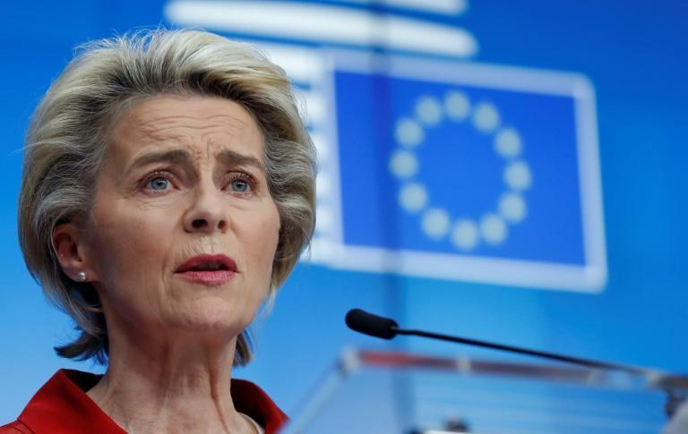 EU chief Ursula von der Leyen and British Prime Minister Boris Johnson are to speak by telephone on Saturday; she is seen in a file image from October 29, 2020