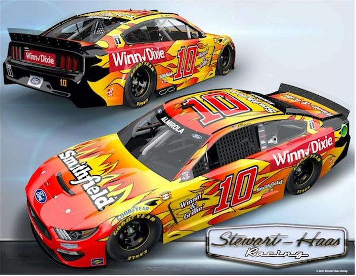 NASCAR driver Aric Almirola will race the No. 10 Smithfield/Winn-Dixie Ford in honor of Mark Martin for the Throwback race at Darlington.