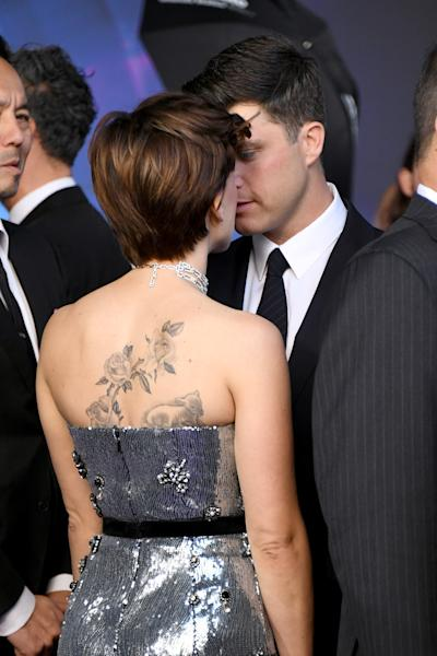 "At the premiere of ""Avengers: Infinity War,"" we all got a glimpse of Scarlett Johansson's back tattoos, which include black-and-white roses and a black-and-white lamb."