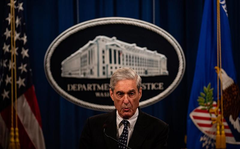 WASHINGTON, DC - MAY 29: Special Counsel Robert S. Mueller III makes a statement on the investigation into Russian interference in the 2016 Presidential election on Wednesday, May 29, 2019, at the Department of Justice in Washington, D.C. (Photo by Salwan Georges/The Washington Post via Getty Images)