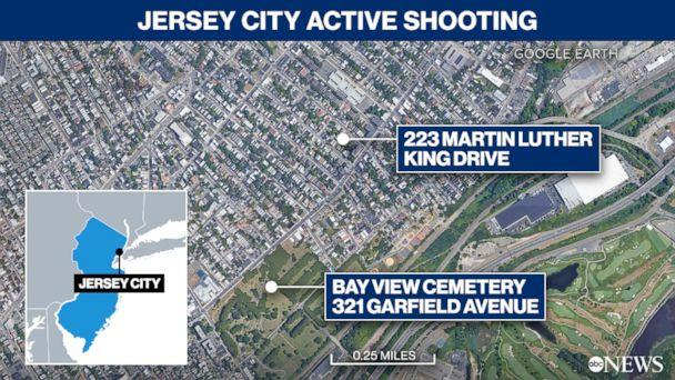 Current active shooting in Jersey City, New Jersey (ABC News Map Illustration / Google Earth)