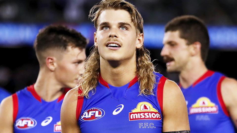 Bailey Smith, pictured here after the Western Bulldogs' win over West Coast.