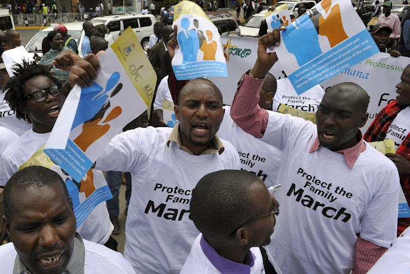 Kenyans hold a protest against homosexuality in Nairobi on July 6, 2015, expressing their stance against gay rights to President Obama ahead of his visit on July 25 (AFP Photo/Simon Maina)