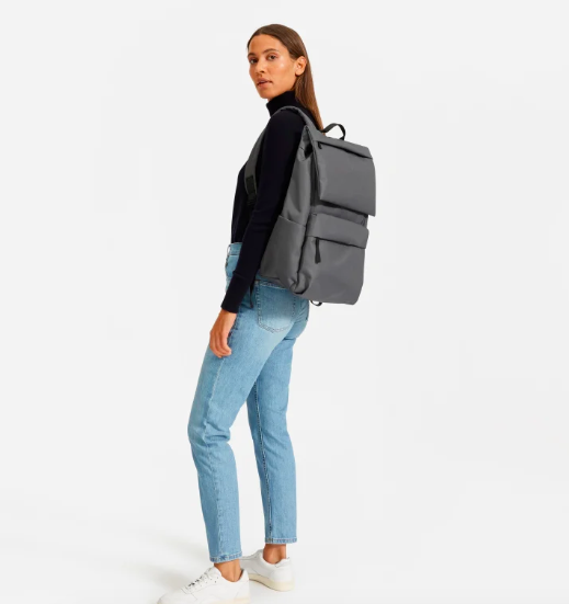The ReNew Transit Backpack in Dark Gray. Image via Everlane.