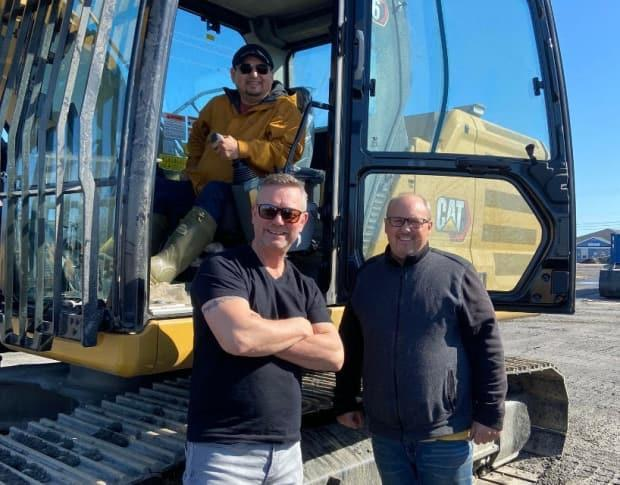 Greg Penney, Dean Joyce, and Innu Nation Grand Chief Etienne Rich are optimistic about the new timber deal.  (Submitted by Greg Penney - image credit)