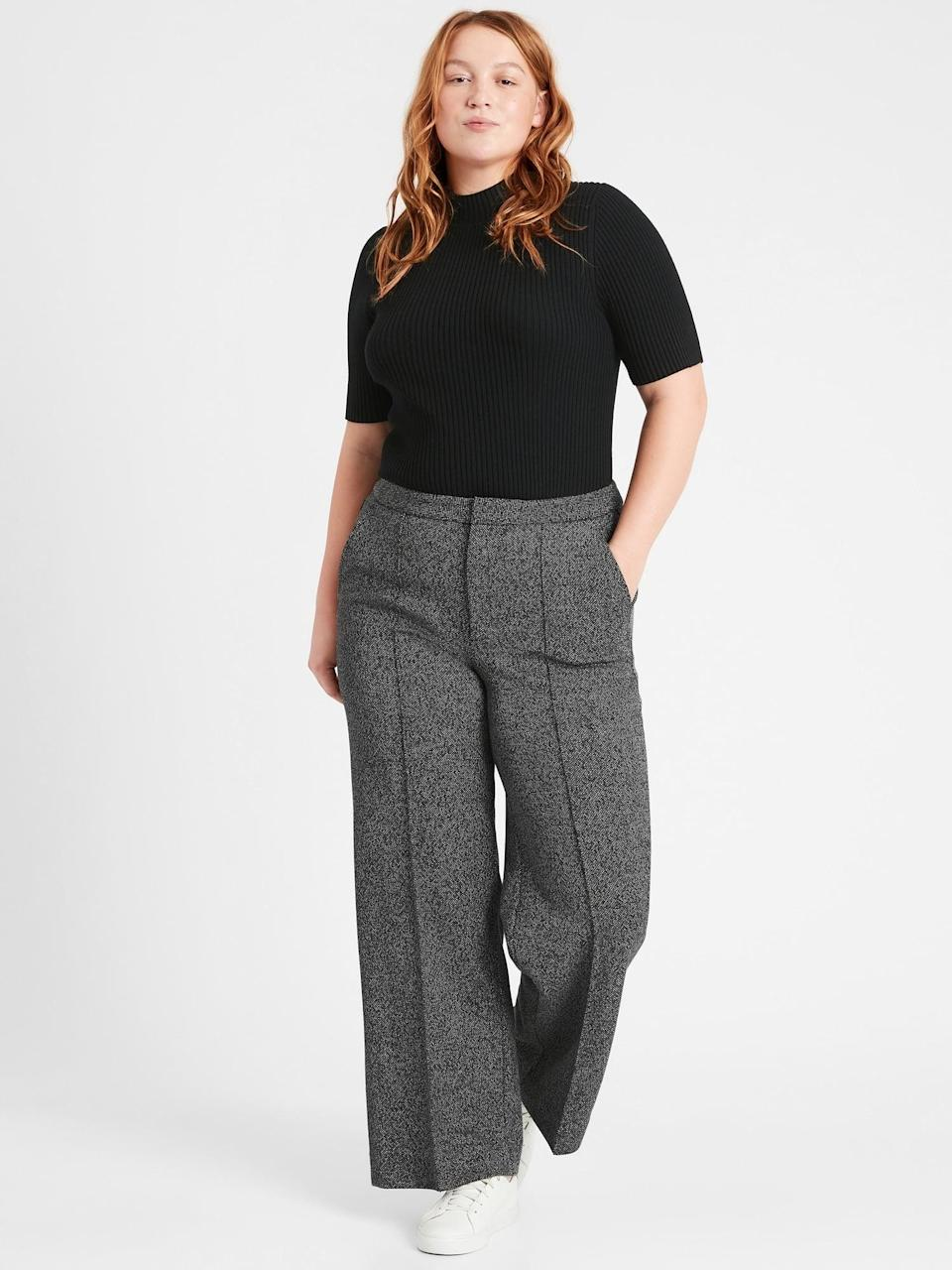 <p>They call these <span>Banana Republic Slim Wide-Leg 24-Hour Ponte Pant</span> ($49, originally $99) because you really can wear them for 24-hours and be super comfortable!</p>