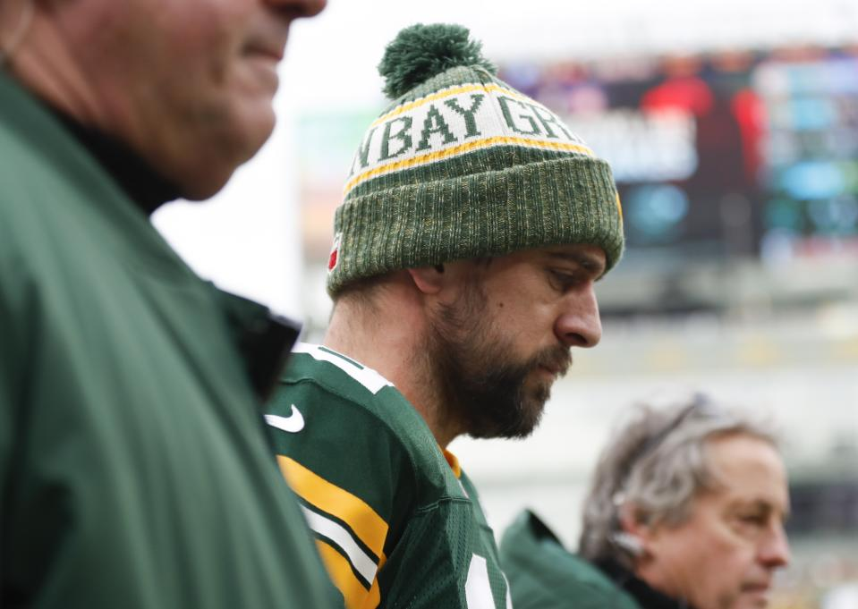 Finding help for Aaron Rodgers was once again low on the Packers' priority list. (AP Photo/Matt Ludtke)