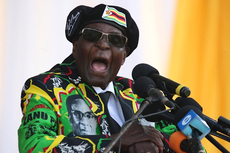 Mugabe, seen here in one of his last speeches while in power, presided over a regime criticised for rights abuse and economic incompetence