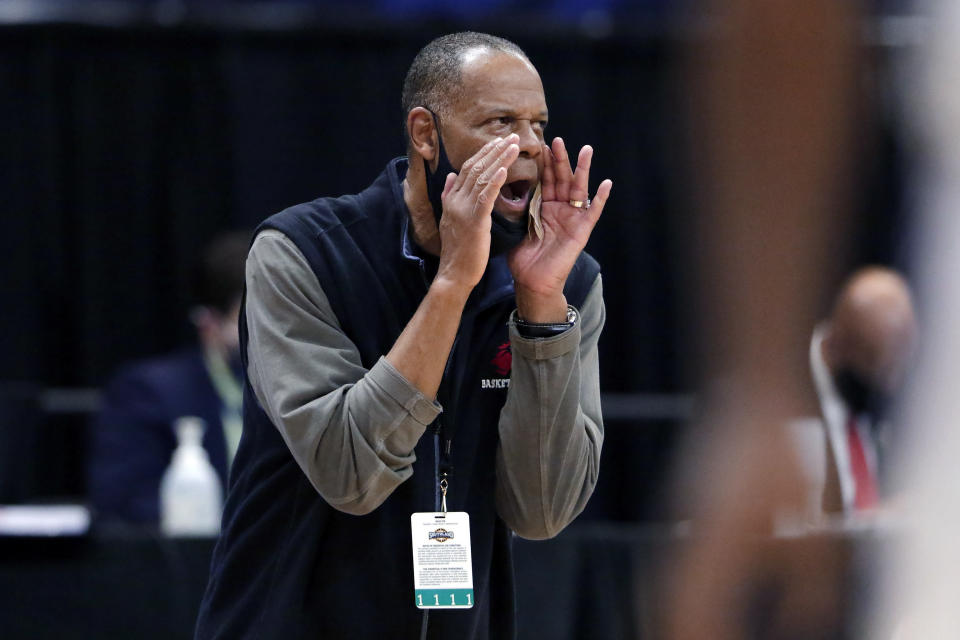 Lamar head coach Tic Price during the second half of an NCAA college basketball game against Abilene Christian in the Southland Conference semifinals Friday, March 12, 2021, in Katy, Texas. (AP Photo/Michael Wyke)