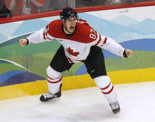 Canada's Sidney Crosby celebrates his game-winning goal against the United States at the 2010 Winter Olympic Games in Vancouver on Feb. 28, 2010. (THE CANADIAN PRESS/Paul Chiasson)