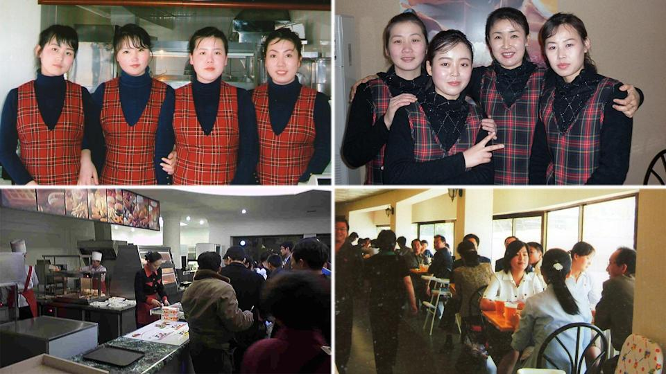 Samtaesong staff (top row) and diners (bottom row) seen at outlets in Pyongyang. (PHOTOS: Courtesy of Patrick Soh)