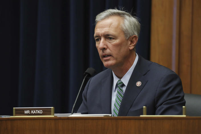 FILE - In this Sept. 20, 2020, file photo, Rep. John Katko, R-N.Y., questions witnesses during a House Committee on Homeland Security hearing on Capitol Hill Washington. Some House Republicans joined Democrats in voting to create a bipartisan commission to investigate the Jan. 6 attack on the Capitol. The Republican mavericks were led Katko, who wrote the measure with Homeland Security Committee Chairman Bennie Thompson, D-Miss. (Chip Somodevilla/Pool via AP, File)