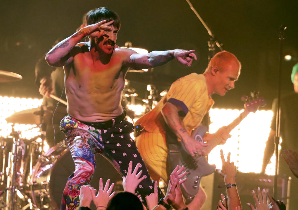 FILE - Anthony Kiedis, of Red Hot Chili Peppers, performs a medley at the 61st annual Grammy Awards on Feb. 10, 2019, in Los Angeles. Kiedes turns 58 on Nov. 1. (Photo by Matt Sayles/Invision/AP, File)
