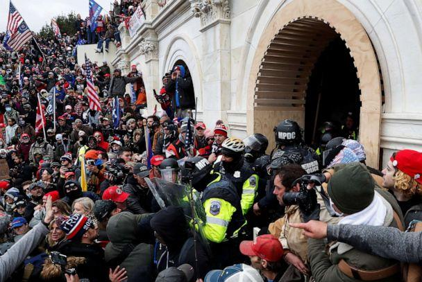 PHOTO: Pro-Trump protesters clash with police during a rally at the U.S. Capitol Building in Washington, D.C., Jan. 6, 2021.  (Shannon Stapleton/Reuters)