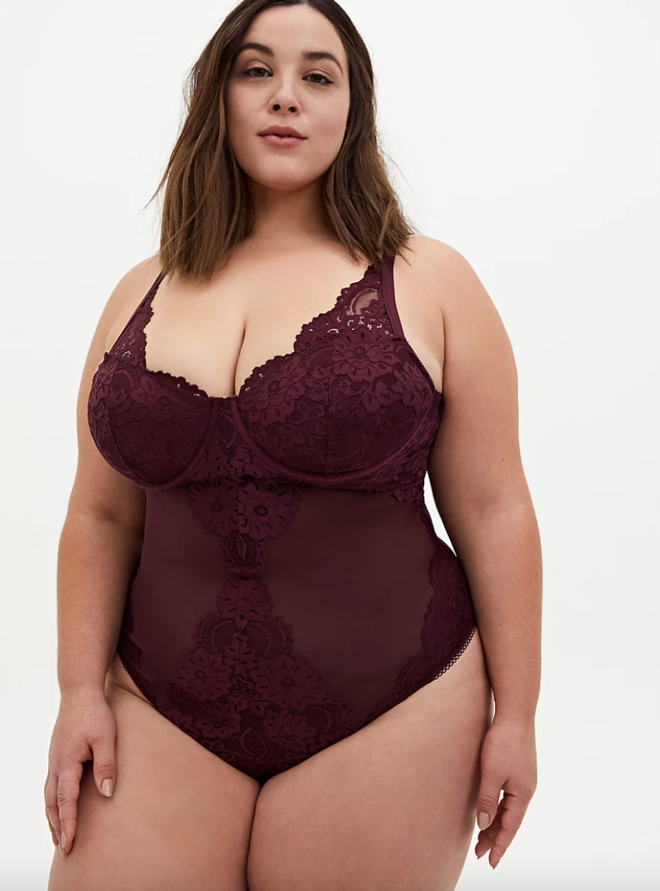 Lace Underwire Thong Bodysuit in Burgundy Purple (Photo via Torrid)