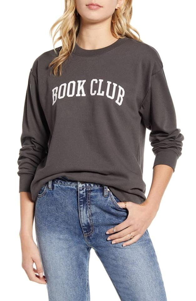 """<p>This <a href=""""https://www.popsugar.com/buy/SubUrban-Riot-Book-Club-Sweatshirt-494361?p_name=Sub_Urban%20Riot%20Book%20Club%20Sweatshirt&retailer=shop.nordstrom.com&pid=494361&price=68&evar1=tres%3Auk&evar9=25726813&evar98=https%3A%2F%2Fwww.popsugar.com%2Flove%2Fphoto-gallery%2F25726813%2Fimage%2F46679505%2FSubUrban-Riot-Book-Club-Sweatshirt&list1=gifts%2Cbooks%2Choliday%2Cgift%20guide%2Creading%2Choliday%20living%2Cgifts%20for%20women%2Cgifts%20for%20men&prop13=api&pdata=1"""" rel=""""nofollow"""" data-shoppable-link=""""1"""" target=""""_blank"""" class=""""ga-track"""" data-ga-category=""""Related"""" data-ga-label=""""https://shop.nordstrom.com/s/suburban-riot-book-club-sweatshirt/5366337?origin=keywordsearch-personalizedsort&amp;breadcrumb=Home%2FAll%20Results&amp;color=black"""" data-ga-action=""""In-Line Links"""">Sub_Urban Riot Book Club Sweatshirt</a> ($68) is perfect for all the people in your book club.</p>"""