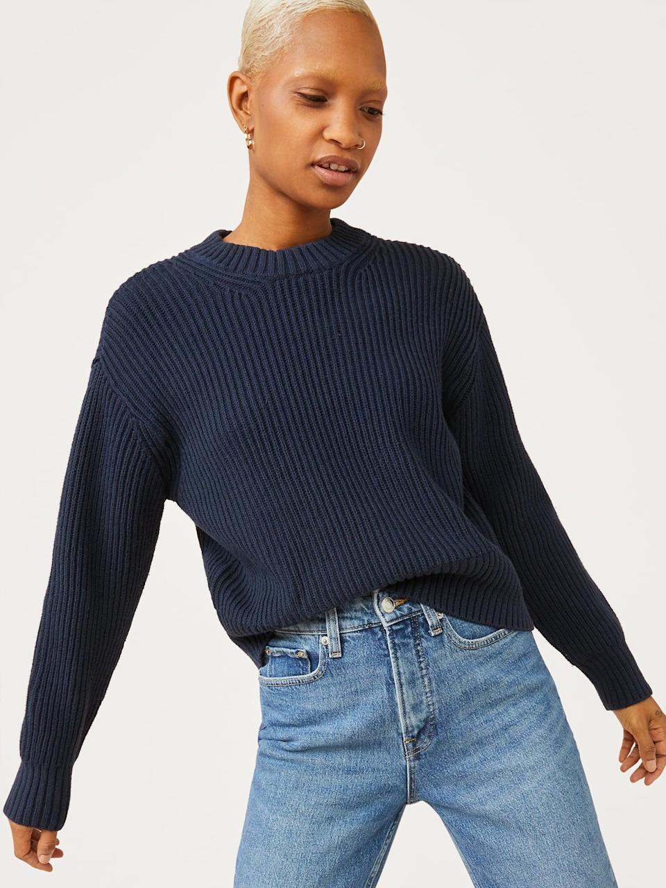<p>Doesn't this <span>Free Assembly Women's Crewneck Sweater</span> ($26) look luxe? For a casual look, simply team it with a pair of jeans, but to dress it up, consider accessorizing it with a necklace and earrings.</p>