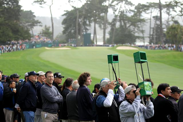 SAN FRANCISCO, CA - JUNE 14: Fans watch the play during the first round of the 112th U.S. Open at The Olympic Club on June 14, 2012 in San Francisco, California. (Photo by David Cannon/Getty Images)