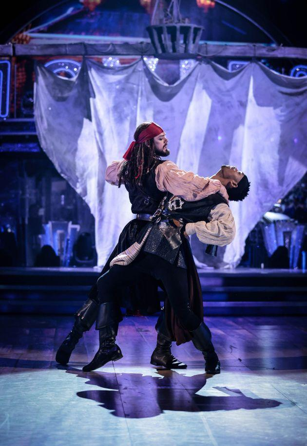John and Johannes paid tribute to Pirates Of The Caribbean on Saturday night (Photo: BBC/Guy Levy)