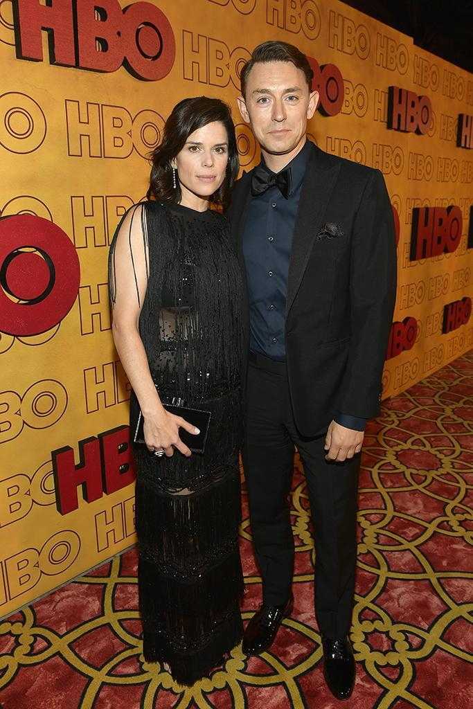 <p><em>House of Cards</em>' Neve Campbell and JJ Feild attended HBO's Post Emmy Awards Reception at the Plaza at the Pacific Design Center. (Photo: Matt Winkelmeyer/Getty Images) </p>